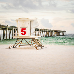 Pensacola Beach Gulf Pier and lifeguard tower five Casino Beach photo. Pensacola Beach is on Santa Rosa Island in the Emerald Coast area of the Southeastern United States of America. Copyright ⓒ 2018 Paul Velgos with All Rights Reserved.