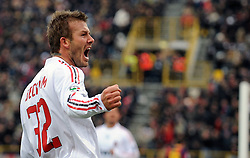 David Beckham celebrates scoring his first goal for Milan during the Serie A football match between FC Bologna and AC Milan at the Dall'Ara stadium on January 25, 2009 in Bologna, Italy.<br /> <br /> UK ONLY