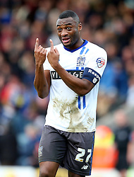 Nathan Cameron of Bury gestures to his team mates - Mandatory byline: Matt McNulty/JMP - 06/12/2015 - Football - Spotland Stadium - Rochdale, England - Rochdale v Bury - FA Cup