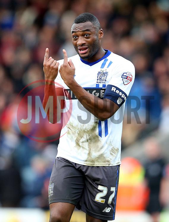 Nathan Cameron of Bury gestures to his team mates - Mandatory byline: Matt McNulty/JMP - 06/12/2015 - Football - Spotland Stadium - Rochdale, England - Rochdale v Bury - FA Cup