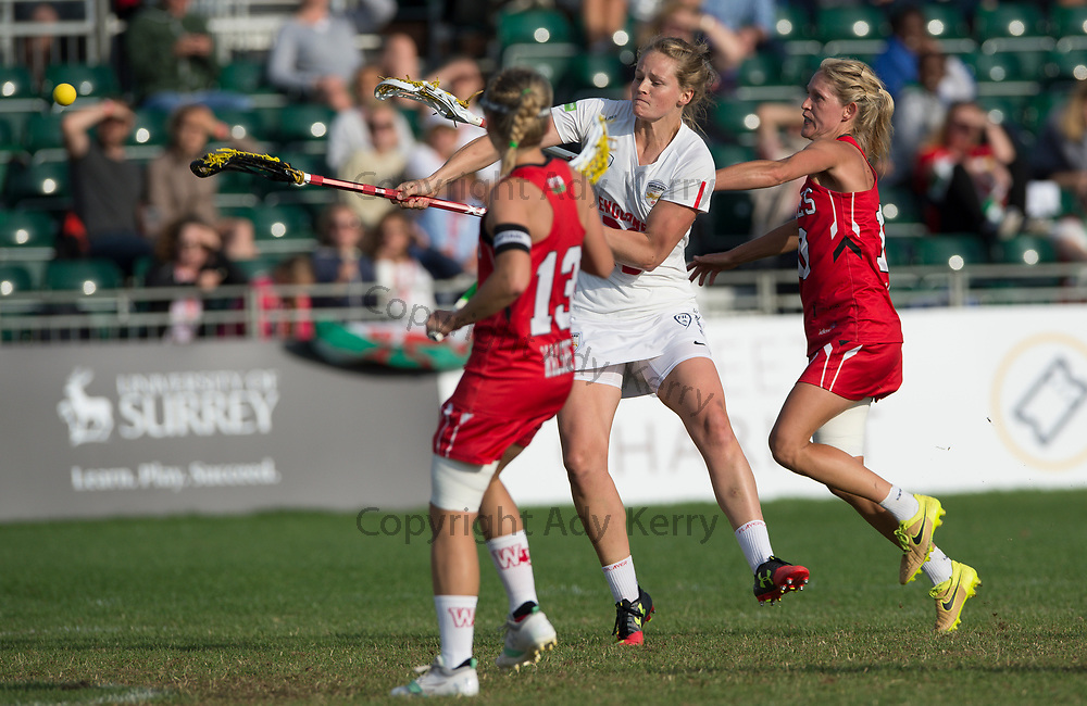 England's Camilla Hayes shoots at goal against Wales in the quarter Final at the 2017 FIL Rathbones Women's Lacrosse World Cup, at Surrey Sports Park, Guildford, Surrey, UK, 19th July 2017.