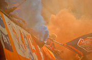 FC Cincinnati fans set of smoke bombs at the start of the MLS soccer game between FC Cincinnati and the Chicago Fire, Saturday, September 21, 2019, in Cincinnati, OH. Chicago tied Cincinnati 0-0. (Jason Whitman/Image of Sport)