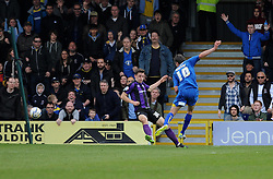 AFC Wimbledon's Jack Midson misses the target after rounding Bristol Rovers' goalkeeper, Steve Mildenhall - Photo mandatory by-line: Dougie Allward/JMP - Mobile: 07966 386802 05/04/2014 - SPORT - FOOTBALL - Kingston upon Thames - Kingsmeadow - AFC Wimbledon v Bristol Rovers - Sky Bet League Two