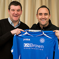 Lee Croft pictured with assistant manager Tommy Wright after signing for St Johnstone FC...19.01.12<br /> Picture by Graeme Hart.<br /> Copyright Perthshire Picture Agency<br /> Tel: 01738 623350  Mobile: 07990 594431