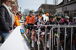 Floortje Mackaaij (NED) of Team Sunweb and Demi de Jong (NED) of Parkhotel Valkenburg Cycling Team talk shop before Stage 1b of the Healthy Ageing Tour - a 77.6 km road race, starting and finishing in Grijpskerk on April 5, 2017, in Groeningen, Netherlands.