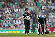 New Zealand Kane Williamson waiting for the decision during the Royal London One Day International match between England and New Zealand at the Oval, London, United Kingdom on 12 June 2015. Photo by Phil Duncan.