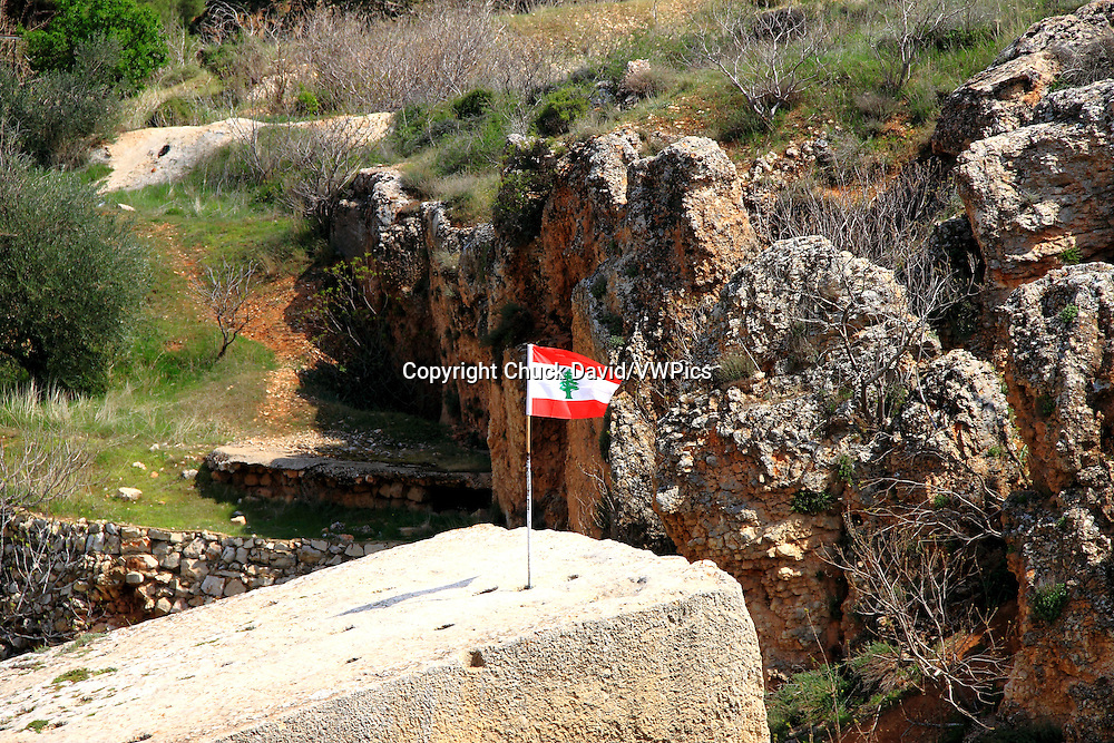 The world's largest quarried stone (weighing over 1200 tons) sports a Lebanese flag in Baalbek.