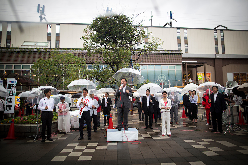 CHIBA, JAPAN - JULY 9 :  Yoshihiko Noda a former Prime Minister and member of the Democratic Party of Japan (DPJ) delivers campaign speech to support candidate Hiroyuki Konishi during the 2016 Upper House election campaign outside of Kaihin Makuhari Station in Chiba, Japan on July 9, 2016. Tomorrow, July 10, 2016 will be the first Upper house election nation-wide in Japan that 18 years old can vote after government law changes its voting age from 20 years old to 18 years old. (Photo by Richard Atrero de Guzman/NUR Photo)