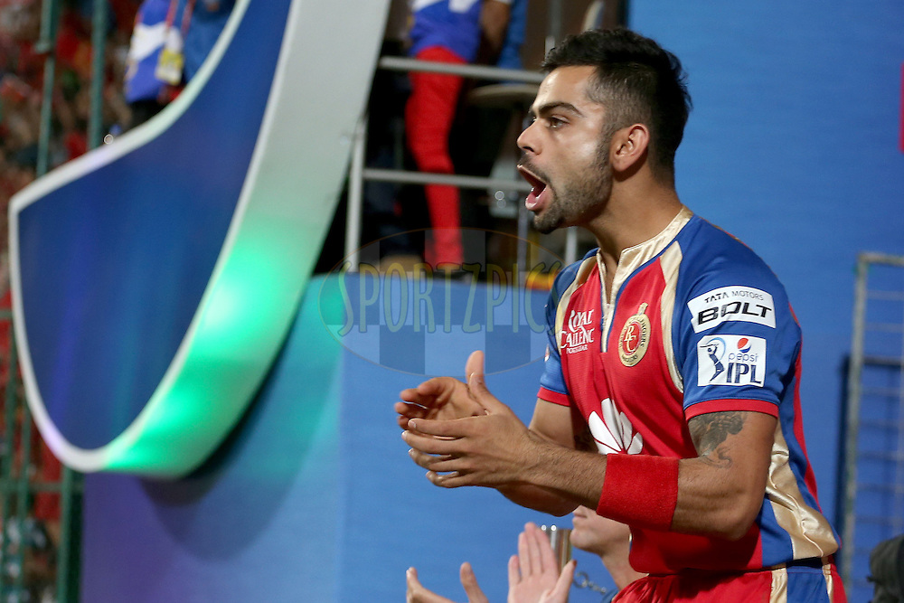 Virat Kohli celebrating during match 24 of the Pepsi Indian Premier League Season 2014 between the Royal Challengers Bangalore and the Sunrisers Hyderabad held at the M. Chinnaswamy Stadium, Bangalore, India on the 4th May 2014. Photo by Jacques Rossouw / IPL / SPORTZPICS<br /> <br /> <br /> <br /> Image use subject to terms and conditions which can be found here:  http://sportzpics.photoshelter.com/gallery/Pepsi-IPL-Image-terms-and-conditions/G00004VW1IVJ.gB0/C0000TScjhBM6ikg