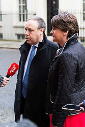 London, November 21 2017. Nigel Dodds and Arlene Foster of the DUP speak to the media after leaders of Northern Ireland's two main political parties the DUP and Sinn Fein met separately with British Prime Minister Theresa May at Downing Street. © Paul Davey
