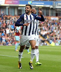 Hal Robson-Kanu of West Bromwich Albion celebrates after scoring his sides first goal - Mandatory by-line: Jack Phillips/JMP - 19/08/2017 - FOOTBALL - Turf Moor - Burnley, England - Burnley v West Bromwich Albion - Premier League