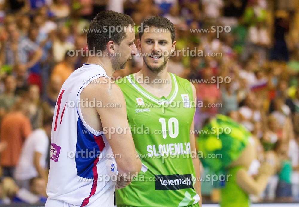 Rasko Katic of Serbia and Bostjan Nachbar of Slovenia after the friendly match between National teams of Slovenia and Serbia for Eurobasket 2013 on August 3, 2013 in Arena Zlatorog, Celje, Slovenia. (Photo by Vid Ponikvar / Sportida.com)