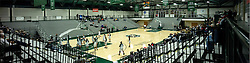 310 January 2015:  Multiple image stitched panoramic of warm ups in Shirk Center Gym during an NCAA women's division 3 CCIW basketball game between the Carthage Reds and the Illinois Wesleyan Titans in Shirk Center, Bloomington IL