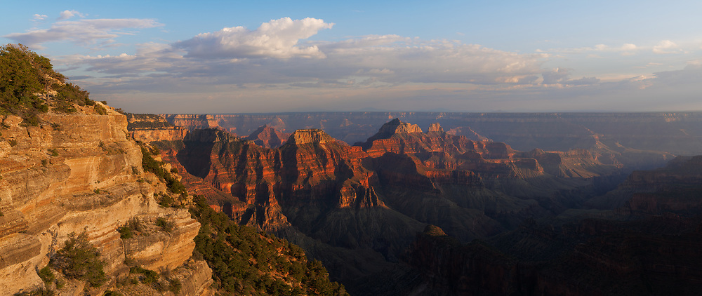 A panoramic view of the Grand Canyon from the lodge on the North Rim.