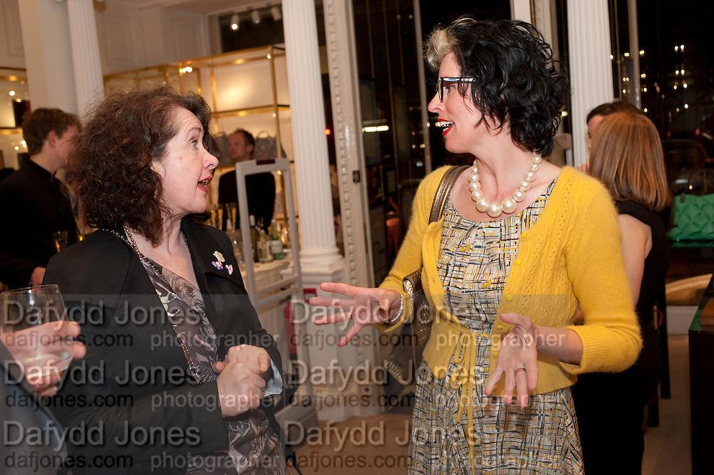 KATIE MCBRIDE; LINDSAY TAYLOR, Smythson Royal Wedding exhibition preview. Smythson together with Janice Blackburn has commisioned 5 artist designers to create their own interpretations of  Royal wedding memorabilia. Smythson. New Bond St. London. 5 April 2011.  -DO NOT ARCHIVE-© Copyright Photograph by Dafydd Jones. 248 Clapham Rd. London SW9 0PZ. Tel 0207 820 0771. www.dafjones.com.