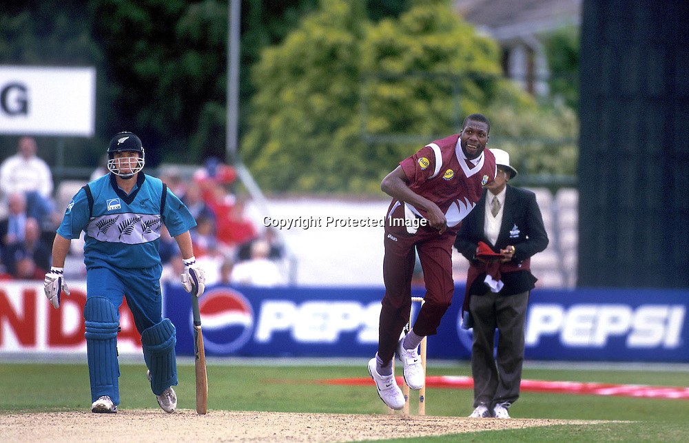 Curtly Ambrose of West Indies in action against New Zealand in the group B match of the Cricket World Cup played at County Ground, Southhampton, England. 24 May 1999. Photo: Andrew Cornaga/Photosport.co.nz