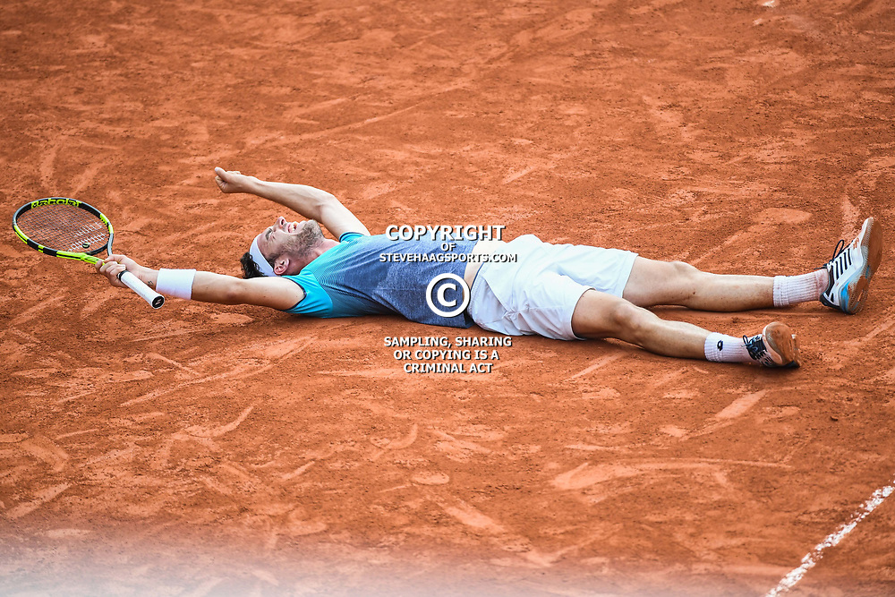 Marco Cecchinato (Italy) celebrates his victory during Day 10 for the French Open 2018 on June 5, 2018 in Paris, France. (Photo by Anthony Dibon/Icon Sport)