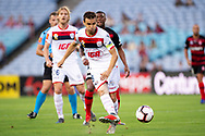 SYDNEY, NSW - JANUARY 18: Adelaide United midfielder Isaias (8) kicks the ball at the Hyundai A-League Round 14 soccer match between Western Sydney Wanderers and Adelaide United at ANZ Stadium in NSW, Australia 18 January 2019. Image by (Speed Media/Icon Sportswire)