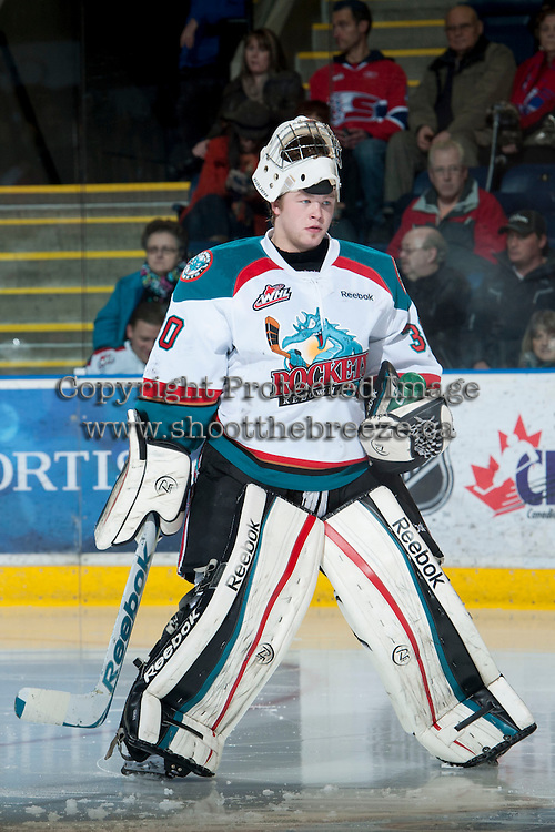 KELOWNA, CANADA - JANUARY 16:  Jordon Cooke #30 of the Kelowna Rockets skates to the net against the Spokane Chiefs at the Kelowna Rockets on January 16, 2013 at Prospera Place in Kelowna, British Columbia, Canada (Photo by Marissa Baecker/Shoot the Breeze) *** Local Caption ***