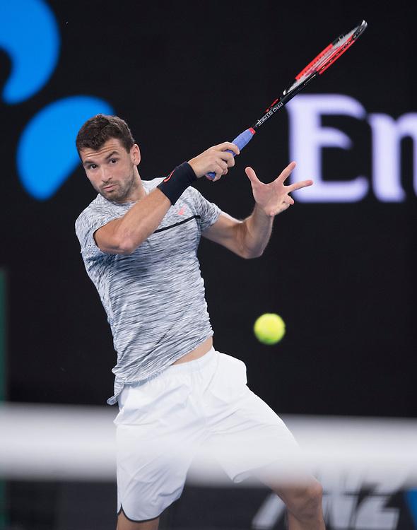 Grigor Dimitrov of Bulgaria on day six of the 2017 Australian Open at Melbourne Park on January 21, 2017 in Melbourne, Australia.<br /> (Ben Solomon/Tennis Australia)