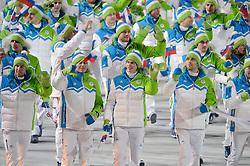 07-02-2014 ALGEMEEN: OPENINGSCEREMONIE OLYMPIC GAMES: SOTSJI<br /> De openingsceremonie in het Fishtstadion van de Olympische Winterspelen in Sotsji staat vol spektakel, dans en 22,5 ton vuurwerk / Team Slovenia SLO<br /> ©2014-FotoHoogendoorn.nl