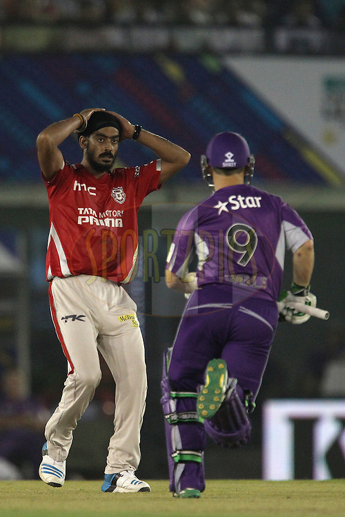 Anureet SINGH of the Kings XI Punjab reacts after a delivery during match 2 of the Oppo Champions League Twenty20 between the Kings XI Punjab and the Hobart Hurricanes held at the Punjab Cricket Association Stadium, Mohali, India on the 18th September 2014<br /> <br /> Photo by:  Ron Gaunt / Sportzpics/ CLT20<br /> <br /> <br /> Image use is subject to the terms and conditions as laid out by the BCCI/ CLT20.  The terms and conditions can be downloaded here:<br /> <br /> http://sportzpics.photoshelter.com/gallery/CLT20-Image-Terms-and-Conditions-2014/G0000IfNJn535VPU/C0000QhhKadWcjYs