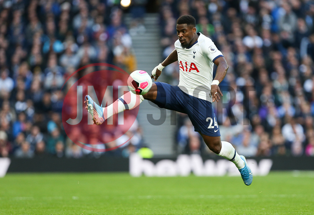 Serge Aurier of Tottenham Hotspur controls the ball in mid air - Mandatory by-line: Arron Gent/JMP - 19/10/2019 - FOOTBALL - Tottenham Hotspur Stadium - London, England - Tottenham Hotspur v Watford - Premier League