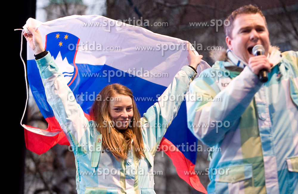 Slovenian 2-times silver medalist alpine skier Tina Maze and Miha Dezelak at reception at Preseren's square when she came from Vancouver after Winter Olympic games 2010, on February 28, 2010 in Center of Ljubljana, Slovenia. (Photo by Vid Ponikvar / Sportida)
