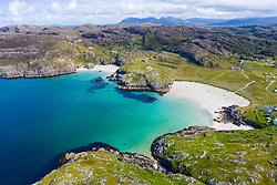 Aerial view of beach at Achmelvich in Sutherland,  Highland Region of Scotland, UK