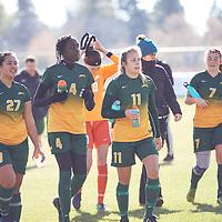 1st year defender, Amou Madol (4) of the Regina Cougars during the Women's Soccer away game on Sat Oct 06 at Universtity of Saskatchewan . Credit: Arthur Ward/Arthur Images