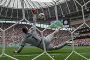 Inter Milan goalkeeper Samir Handanovia (1) saves the penalty of Tottenham Hotspur midfielder Oliver Skipp (52), penalty shootout, during the Pre-Season Friendly match between Tottenham Hotspur and Inter Milan at Tottenham Hotspur Stadium, London, United Kingdom on 4 August 2019.