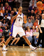 Apr. 1, 2011; Phoenix, AZ, USA; Phoenix Suns forward Channing Frye (8) reacts on the court against the Los Angeles Clippers at the US Airways Center. The Suns defeated the Clippers 111-98. Mandatory Credit: Jennifer Stewart-US PRESSWIRE.