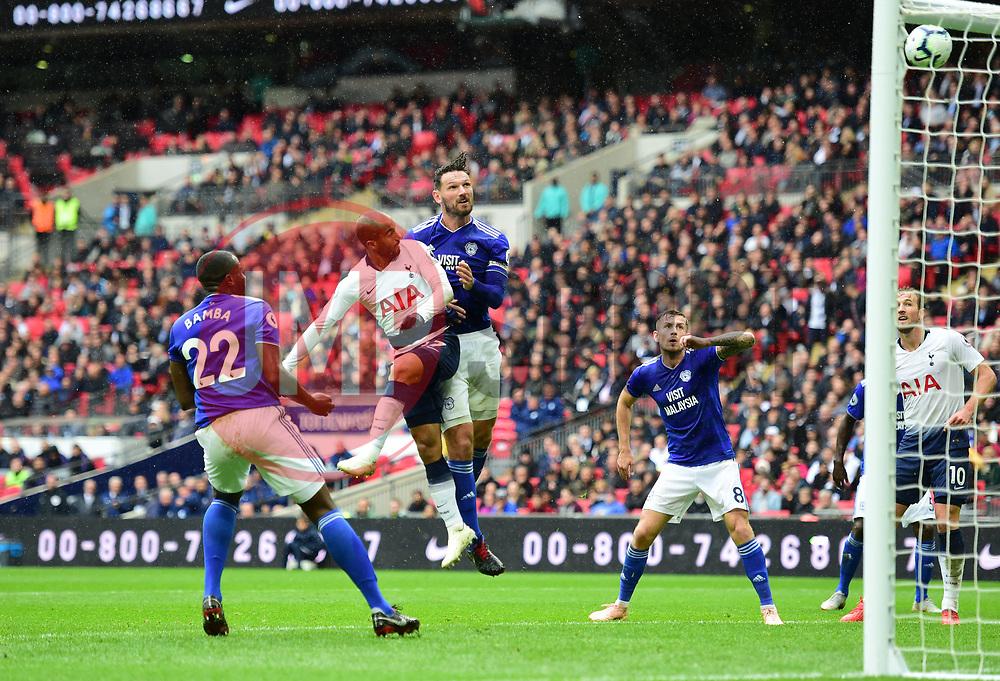 Lucas of Tottenham Hotspur heads over the bar. - Mandatory by-line: Alex James/JMP - 06/10/2018 - FOOTBALL - Wembley Stadium - London, England - Tottenham Hotspur v Cardiff City - Premier League