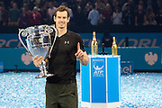 Andy Murray of Great Britain  holds up the ATP Number One trophy after his Final's match on during the Finals and day eight of the Barclays ATP World Tour Finals at the O2 Arena, London, United Kingdom on 20 November 2016. Photo by Martin Cole.