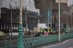 © Licensed to London News Pictures. 10/09/2017. Brighton, UK. Police have evacuated a large area around the Brighton Grand Hotel due to a suspicious device. The TUC Congress is currently being held at the adjoining Brighton Conference centre. The Grand hotel is known as the site of an IRA bomb attack at the Conservative Party conference in 1984.  Photo credit: Hugo Michiels/LNP