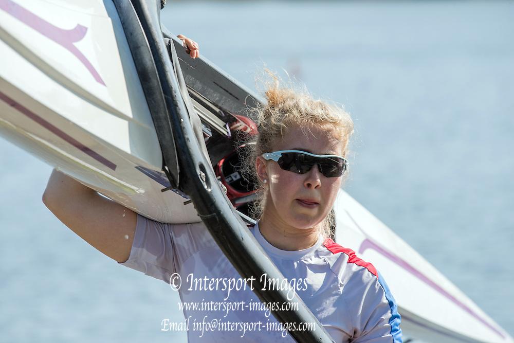 Brandenburg. GERMANY. GBR W1X Mathilda HODGKINS-BYRNE<br /> 2016 European Rowing Championships at the Regattastrecke Beetzsee<br /> <br /> Saturday  07/05/2016<br /> <br /> [Mandatory Credit; Peter SPURRIER/Intersport-images]