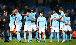 Manchester City players celebrate at full time - Mandatory by-line: Matt McNulty/JMP - 26/09/2017 - FOOTBALL - Etihad Stadium - Manchester, England - Manchester City v Shakhtar Donetsk - UEFA Champions League Group stage - Group F