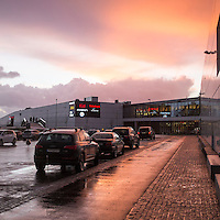 Afternoon sunset at Sørlandssenteret shopping mall in Norway.