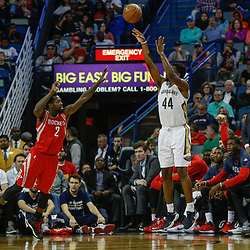 Mar 17, 2017; New Orleans, LA, USA; New Orleans Pelicans forward Solomon Hill (44) shoots over Houston Rockets guard Patrick Beverley (2) during the first quarter of a game at the Smoothie King Center. Mandatory Credit: Derick E. Hingle-USA TODAY Sports