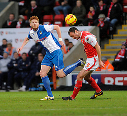 Bristol Rovers' Matt Harrold challenges Morecambe's Chris McCready - Photo mandatory by-line: Dougie Allward/JMP - Tel: Mobile: 07966 386802 14/12/2013 - SPORT - Football - Morecombe - Globe Arena - Morecombe v Bristol Rovers - Sky Bet League Two