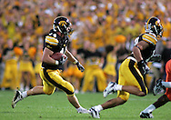 08 SEPTEMBER 2007: Iowa linebacker Mike Humpal (44) runs after catching an interception Iowa's 35-0 win over Syracuse at Kinnick Stadium in Iowa City, Iowa on September 8, 2007.
