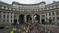 Participants riding into Trafalgar Square with Admiralty Arch in the background during the Prudential RideLondon FreeCycle 2017 29/07/2017<br /> <br /> Photo: Bob Martin/Silverhub for Prudential RideLondon<br /> <br /> Prudential RideLondon is the world's greatest festival of cycling, involving 100,000+ cyclists – from Olympic champions to a free family fun ride - riding in events over closed roads in London and Surrey over the weekend of 28th to 30th July 2017. <br /> <br /> See www.PrudentialRideLondon.co.uk for more.<br /> <br /> For further information: media@londonmarathonevents.co.uk
