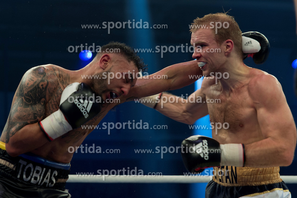 12.03.2016, Jahnsportforum, Neubrandenburg, GER, Boxgala, WBA Weltmeisterschaftskampf, im Bild v.l. Stefan Haertel (Germany) vs Tobias Webb (Germany), Super Middleweight // during the WBA Light Heavyweight World Championship Boxgala at the Jahnsportforum in Neubrandenburg, Germany on 2016/03/12. EXPA Pictures &copy; 2016, PhotoCredit: EXPA/ Eibner-Pressefoto/ Koch<br /> <br /> *****ATTENTION - OUT of GER*****