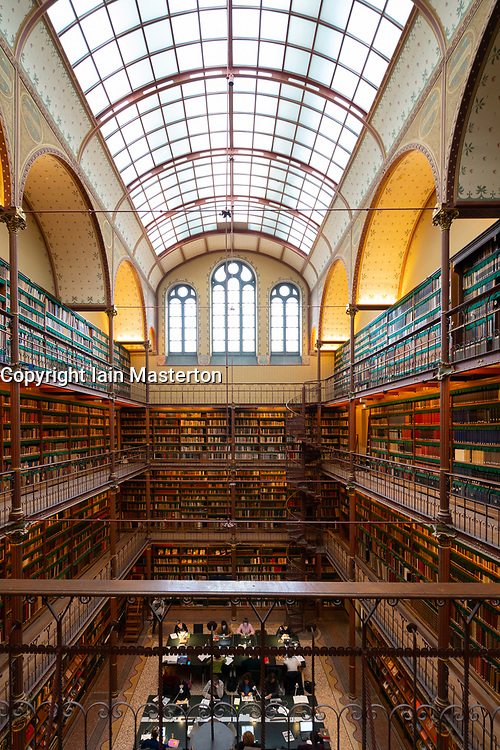 Interior of library at the Rijksmuseum in Amsterdam, The Netherlands
