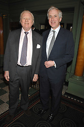 Left to right, VISCOUNT NORWICH (writer John Julius) and HUGO VICKERS at the 2008 Oldie of The year Awards and lunch held at Simpsons in The Strand, London on 11th March 2008.<br />