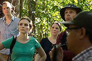 Visitors listen to a briefing at the Arsari Lestari conservation forest in Penajam Paser Utara district, East Kalimantan, Indonesia, on March 12, 2016. In the picture are (from left to right) Morten Rossé, Consultant at McKinsey & Company; Chris Dragisic, Foreign Affairs Officer and REDD+ Focal Point at the U.S. Department of State; Melissa Pinfield, Head of Section at the UK Department of Energy and Climate Change (DECC); and Neil Scotland, Senior Forestry Adviser at the UK Department for International Development (DFID).<br /> (Photo: Rodrigo Ordonez)