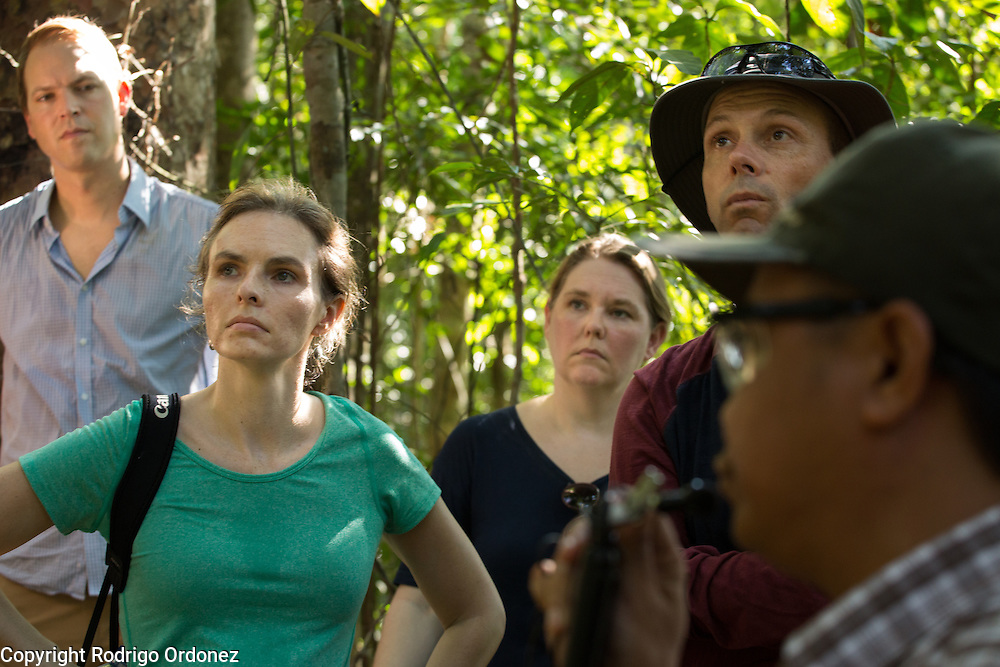 Visitors listen to a briefing at the Arsari Lestari conservation forest in Penajam Paser Utara district, East Kalimantan, Indonesia, on March 12, 2016. In the picture are (from left to right) Morten Rossé, Consultant at McKinsey &amp; Company; Chris Dragisic, Foreign Affairs Officer and REDD+ Focal Point at the U.S. Department of State; Melissa Pinfield, Head of Section at the UK Department of Energy and Climate Change (DECC); and Neil Scotland, Senior Forestry Adviser at the UK Department for International Development (DFID).<br /> (Photo: Rodrigo Ordonez)