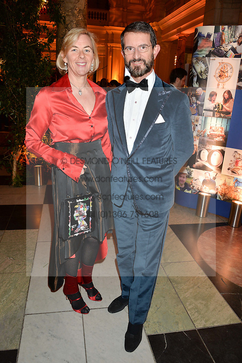 COUNT & COUNTESS MANFREDIE DELLA GHERARDESCA at the inaugural dinner for The Queen Elizabeth Scholarship Trust hosted by Viscount Linley at the V&A museum, London on 25th February 2016.