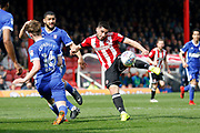 Brentford Forward Neal Maupay (9) lets fly with a volleyed attempt on goal during the EFL Sky Bet Championship match between Brentford and Ipswich Town at Griffin Park, London, England on 7 April 2018. Picture by Andy Walter.