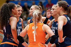 04-08-2019 ITA: FIVB Tokyo Volleyball Qualification 2019 / Netherlands, - Italy Catania<br /> last match pool F in hall Pala Catania between Netherlands - Italy for the Olympic ticket. Italy win 3-0 and take the ticket to the Olympics / (L-R) Celeste Plak #4 of Netherlands, Anne Buijs #11 of Netherlands, Nika Daalderop #19 of Netherlands, Kirsten Knip #1 of Netherlands, Britt Bongaerts #12 of Netherlands, Robin de Kruijf #5 of Netherlands
